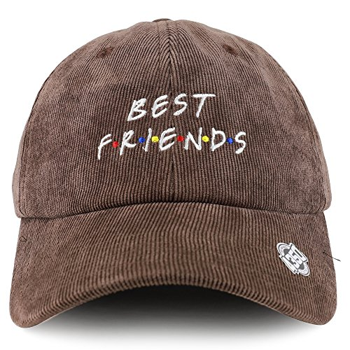 Trendy Apparel Shop Best Friends Embroidered Satin Print Lined Corduroy Unstructured Baseball Cap - Dark Brown Corduroy Lined Hat