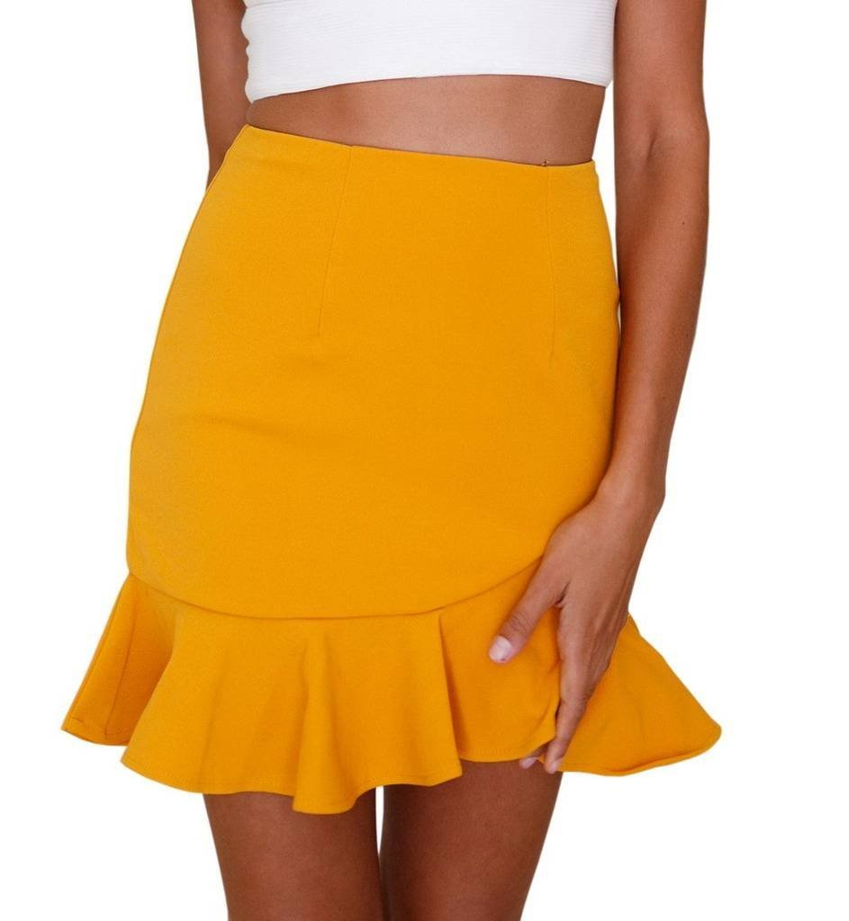 COMVIP Womens Summer Casual Ruffled High Waist Bodycon Zip Mini Skirts Yellow M
