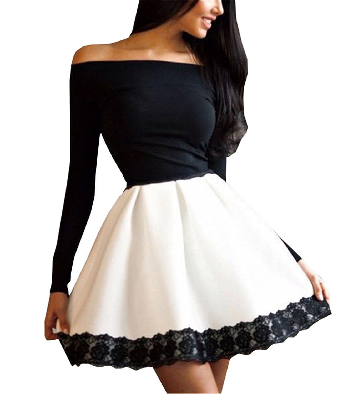 Lymanchi Damen Elegant Abendkleid Langarm Spitze Nähen Schlank Sexy Minikleid
