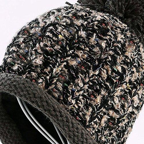 35c0293229ff6 HUAMULAN Women Winter Peruvian Beanie Hat Ski Cap Fleece Lined Ear Flaps  Dual Layered Pompoms