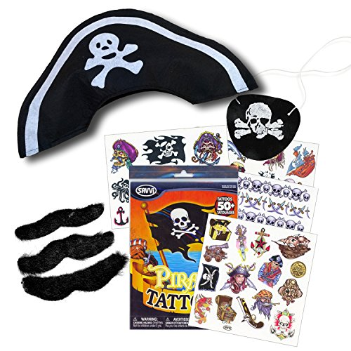 Pirate Costume Set with Pirate Hat, Pirate Tattoos, Eye Patch, and Hairy Mustaches