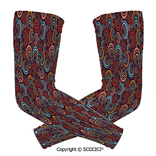 Comfort and Durable Lightweight Arm Guard Sleeve Circular Spiral Oval Geometric Round Figures Elegance Swirls Retro Artsy Graphic Decorative Breathable, Flexible Sleeves - Spiral Cut Patriotic