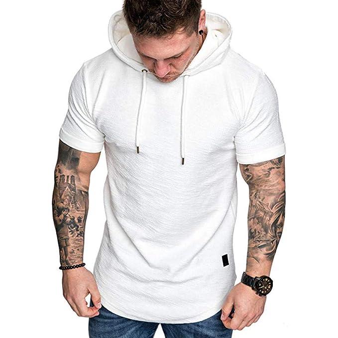 Camiseta de Manga Corta para Hombre Moda Color Sólido Sudadera Deportivas con Capucha Dobladillo Irregular Personalizadas Pliegues T-Shirt de Verano ...
