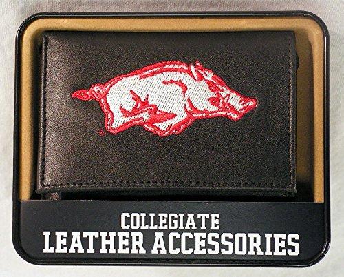 MLB Arkansas Razorbacks Embroidered Genuine Cowhide Leather Trifold Wallet