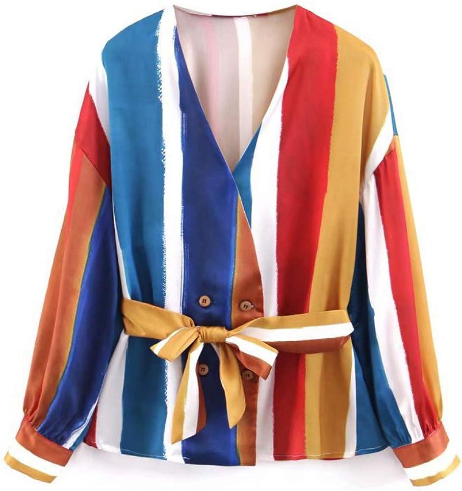 Blusa con Cuello en V a Rayas Casual Camisa con Botones para ...