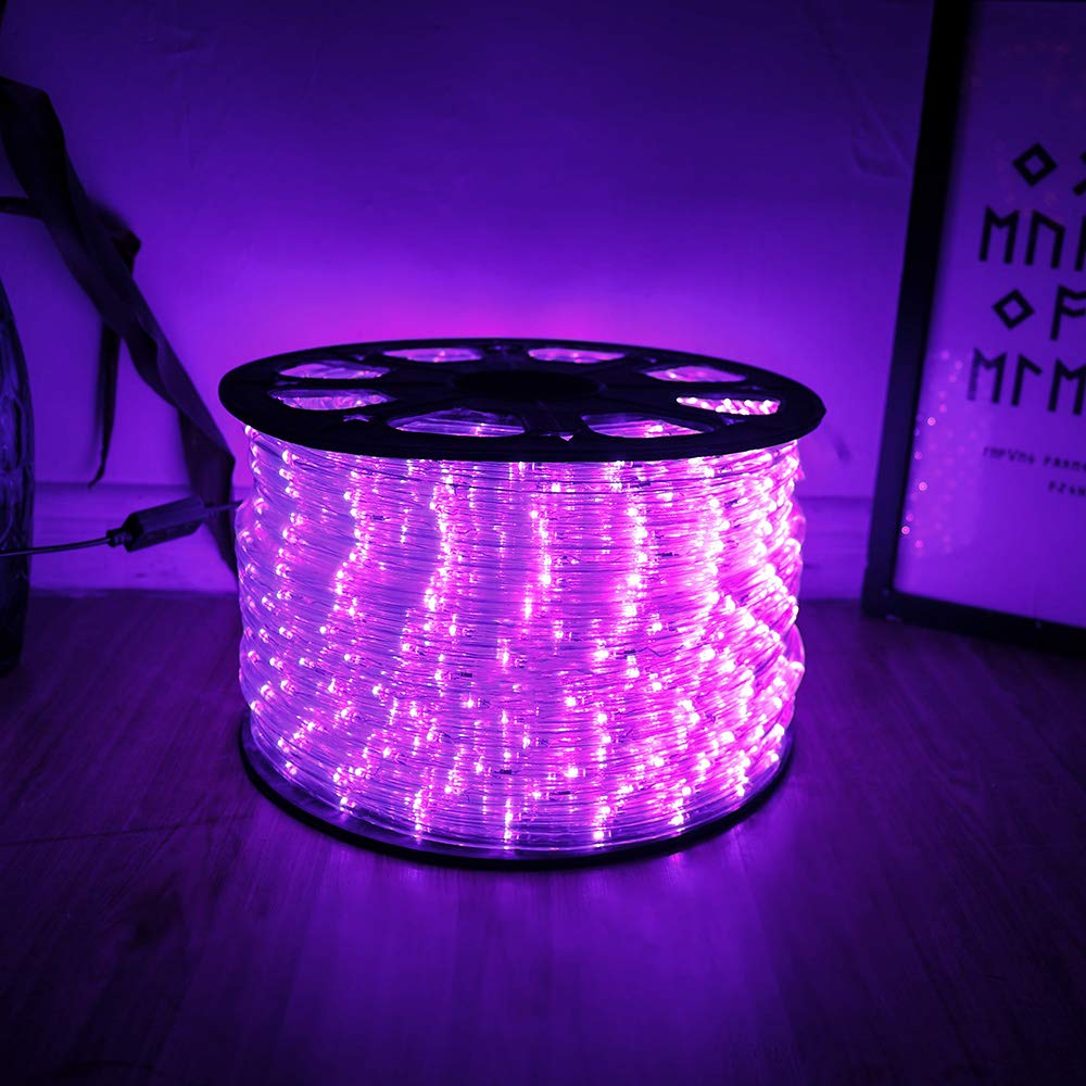 MINIAO 100ft 24V 2-Wire Waterproof LED Outdoor Rope Light Fit for Background Lighting Christmas Lighting, with UL Certified (Purple)