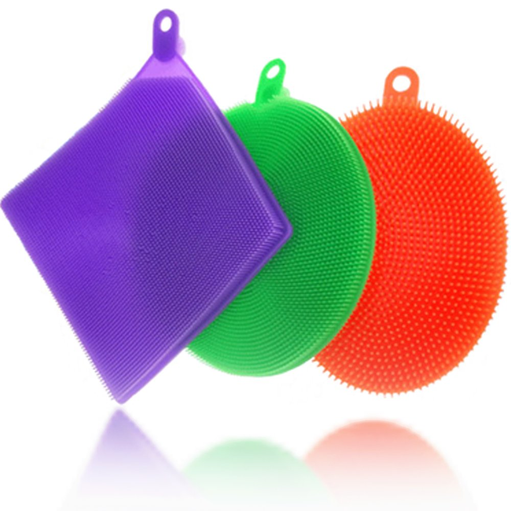 Waspfy Silicone Sponge Scrubber for Multipurpose Cleaning, Brissle Sponge Set with Antibacterial Properties, Ideal for Dish Cleaning, Mildew Free and FDA Approved, Pack of 3 by Waspfy