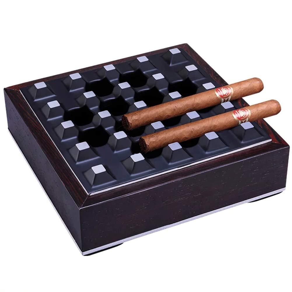 LEICRAFT Cigar Ashtray,Metal&Wood,Desktop Ash Holder for Home Office Decoration Art by LEICRAFT