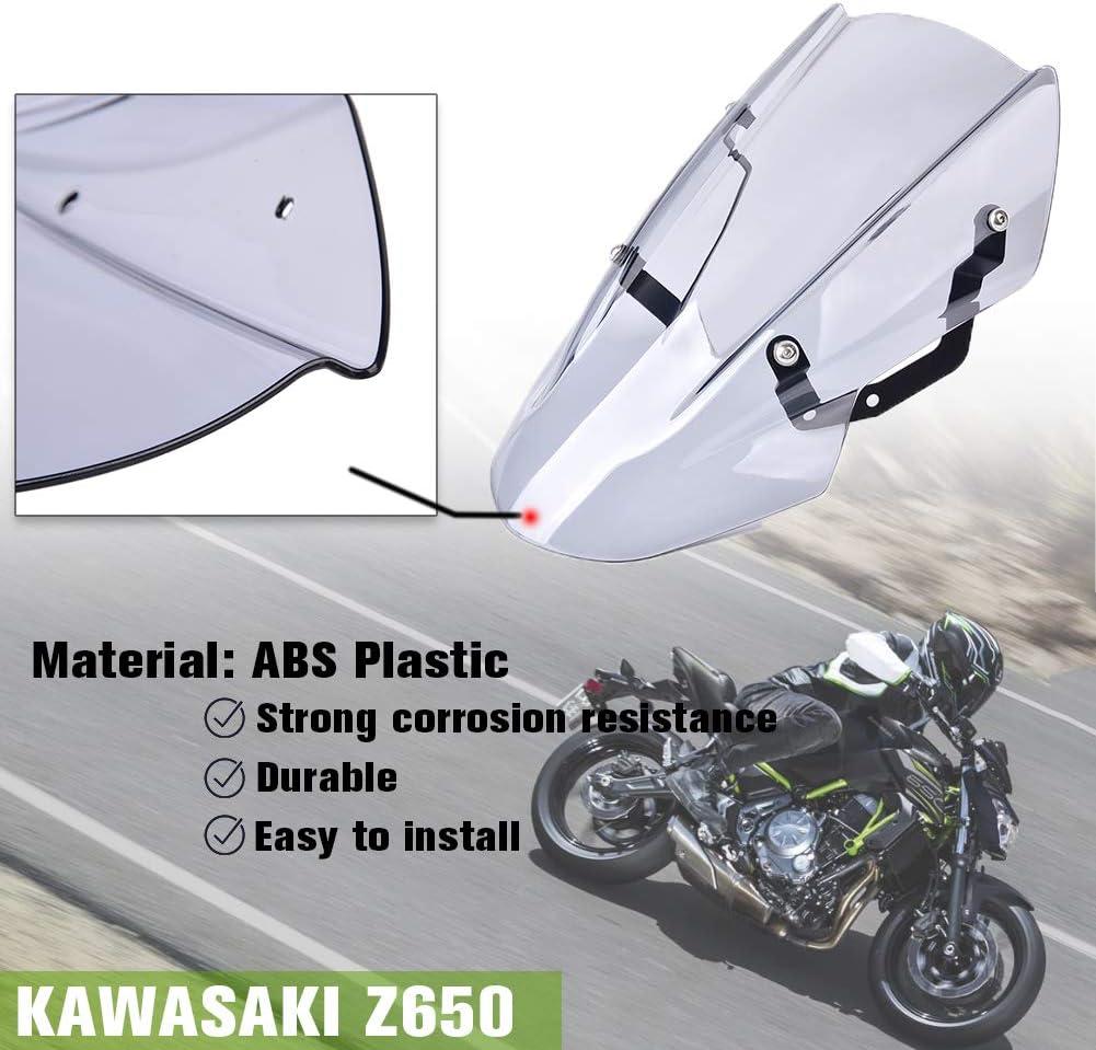 XX eCommerce para Kawasaki Z650 Z-650 Z 650 2017 2018 2019 Doble Burbuja Parabrisas Parabrisas Pantalla Protector Visera Visera con Soporte Motocicleta Z 650 Fumar