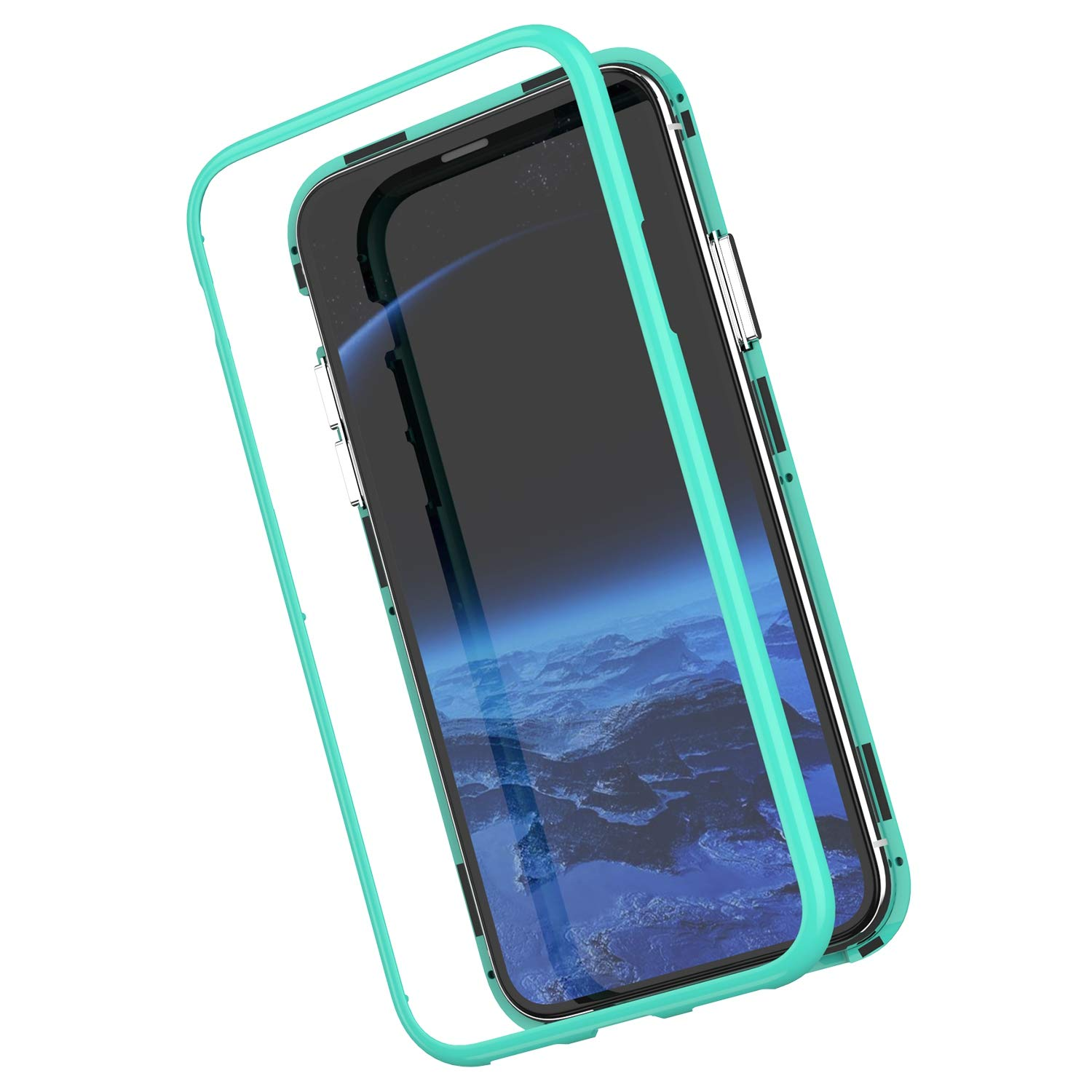 Felfy Compatible avec iPhone XR Coque Rouge,Adsorption Magn/étique Transparent Etui de Protection Avant et Arri/ère Verre Tremp/é Backcover Couverture Housse /à Rabat Antichoc Cover Case