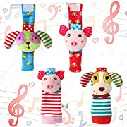 ThinkMax 4 Packs Adorable Animal Infant Baby Wrist Rattle & Foot Finder Socks Best Gift Developmental Toys Set - Puppy and Piggy