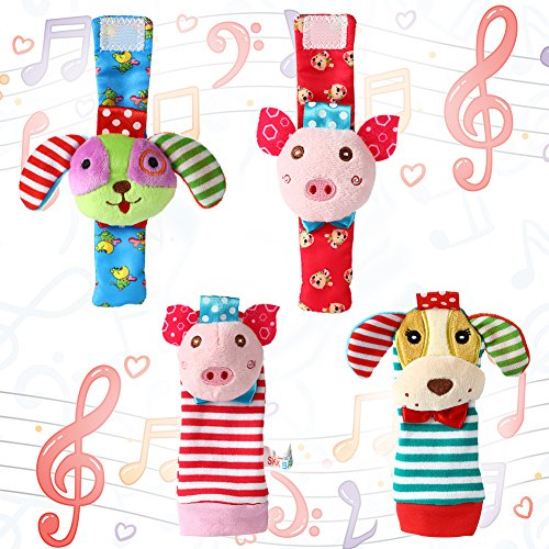 Acekid Baby Foot Rattle,4pcs Wrist Rattle and Socks Toys Set Toddler Soft Animal Toys Pig and Dog