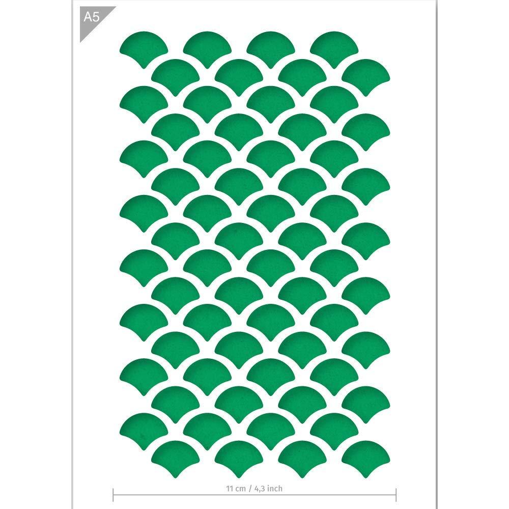 Plantilla de patr/ón pared Tama/ño A5 manualidades Plantilla de escalas para peces QBIX Plantilla de escalas para pintar muebles Plantilla reutilizable para ni/ños hornear