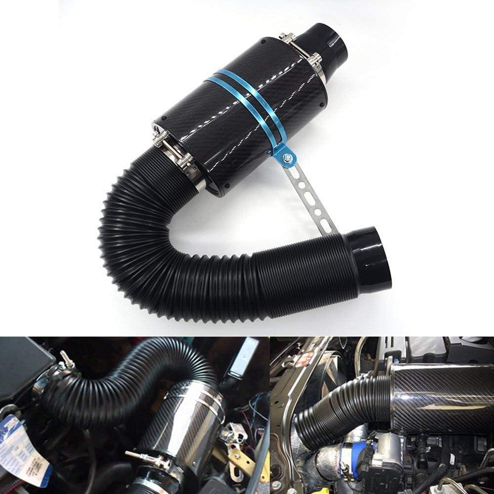 VerRich Sistema de admisión de aire frío de la fibra de carbono universal del filtro de aire del coche 3
