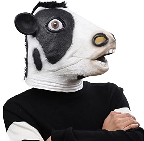 Amazon com: QTMY Latex Rubber Animal Cow Mask for Halloween
