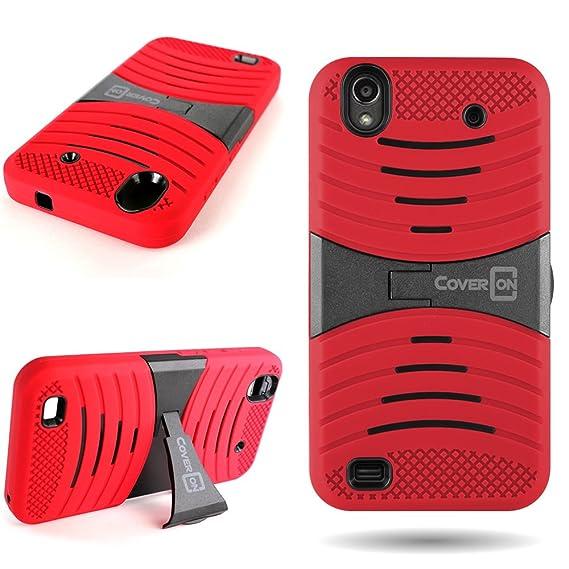 the latest 16837 12fa6 ZTE Quartz Phone Case, CoverON [Dual Defense Series] Protective Hybrid  Armor Kickstand Phone Cover Case for ZTE Quartz Z797C - Red & Black