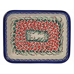 Traditional Polish Pottery, Lasagna Rectangular Casserole Baking Dish 10in / 25.5cm, Boleslawiec Style Pattern, O.101.Cranberry