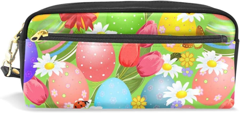 Estuche de gran capacidad para lápices, diseño abstracto de arcoíris, colorido huevo de Pascua, sin costuras, bolsa de papelería con cremallera para maquillaje: Amazon.es: Oficina y papelería