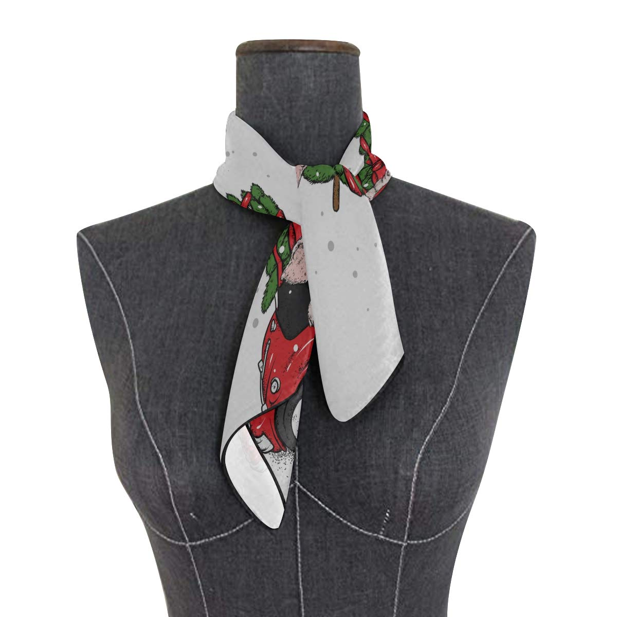 Soft Polyester Silk Unique Scarves For Women Fashion Print Red Christmas Animal Car Scarves For Hair Square Neckerchief Scarfes For Hair Multiple Ways Of Wearing Daily Decor