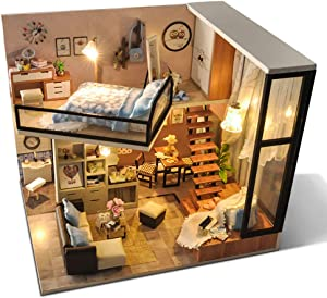Egemoy Romantic Dollhouse Miniature DIY House Kit 1:24 Scale Creative Room with Furniture for Birthday Anniversary Valentine's Day Christmas (Quiet Attic) Plus Dust Proof Cover