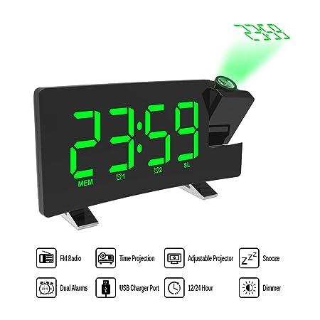 ONEVER Proyector Alarma Reloj de proyección LED con Pantalla Curva Radio Reloj FM Reloj Despertador Doble