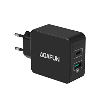 AOAFUN Cargador USB Type-C PD, 33W Cargador USB Smart-C PD con Qualcomm Quick Charge3.0 para Apple MacBook, teléfono Samsung, iPhone X, S8 / S8 Plus y ...
