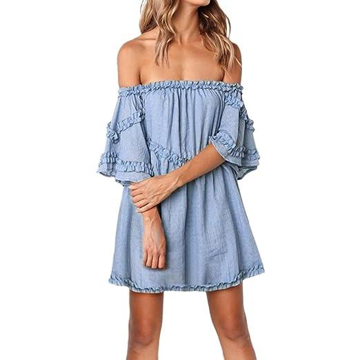 e75f9c17bd Longra Womens Off Shoulder Beach Solid Short Sleeve Party Dress Ladies Dress  Shirt Dress Cheap Dresses