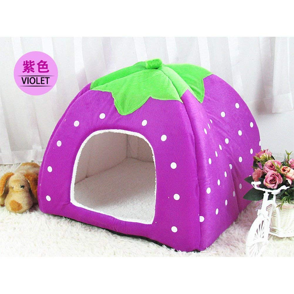 Purple SWLDD Cat Cave Dog Bed Foldable House Indoor Sofa For Small Puppy Cats Rabbit (color   Red, Size   L)