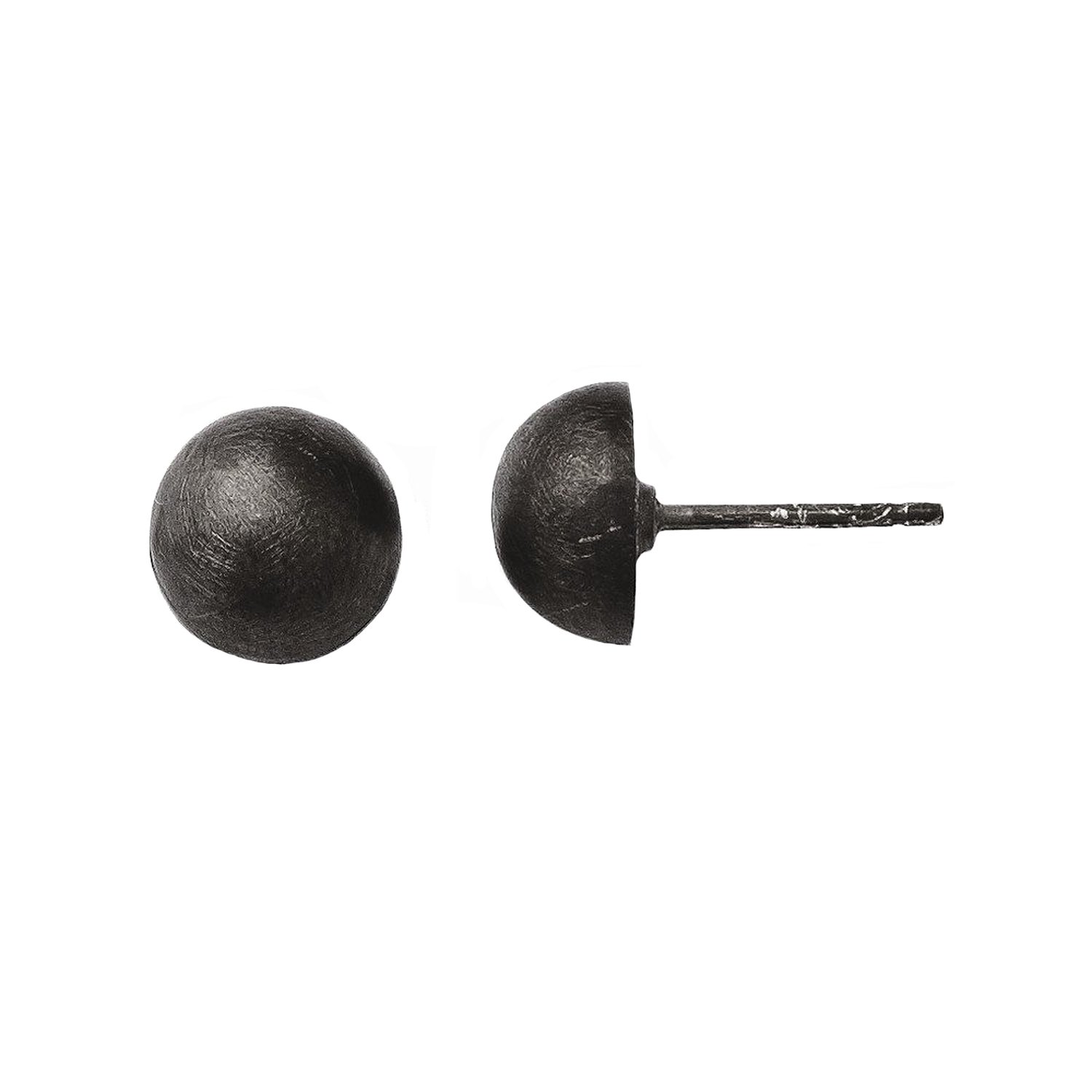Leslies Sterling Silver Ruthenium Plated Scratch Finish 8-9mm Button Earrings