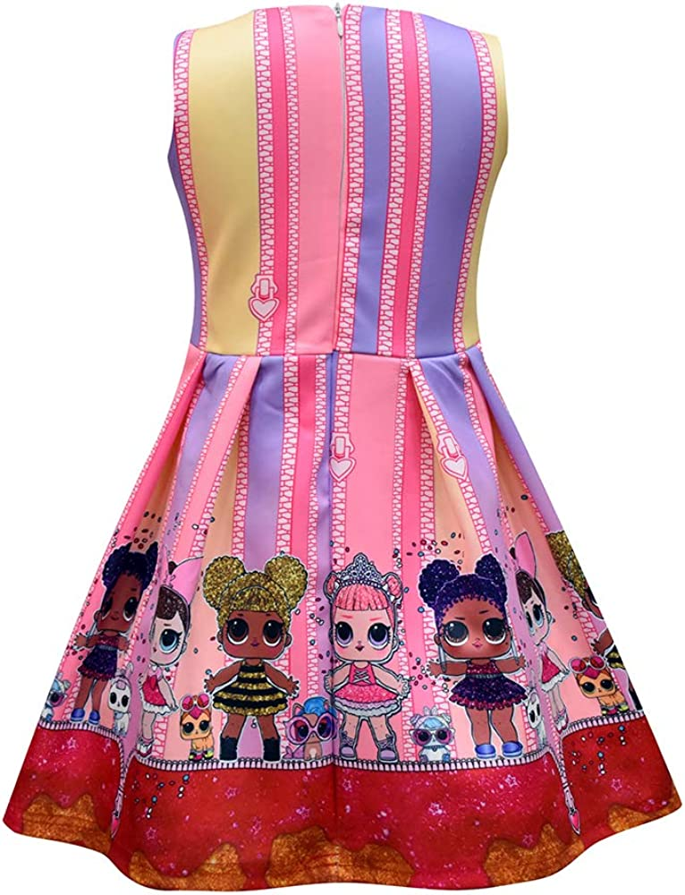 NEW LOL Surprise Dolls Games Dresses Sleeveless Kids Girls Pleated Party Dress