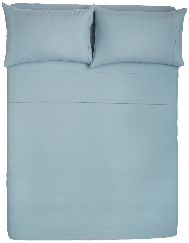 AmazonBasics Navy Blue Comforter (Full/Queen) and Spa Blue Sheet Set (Full)