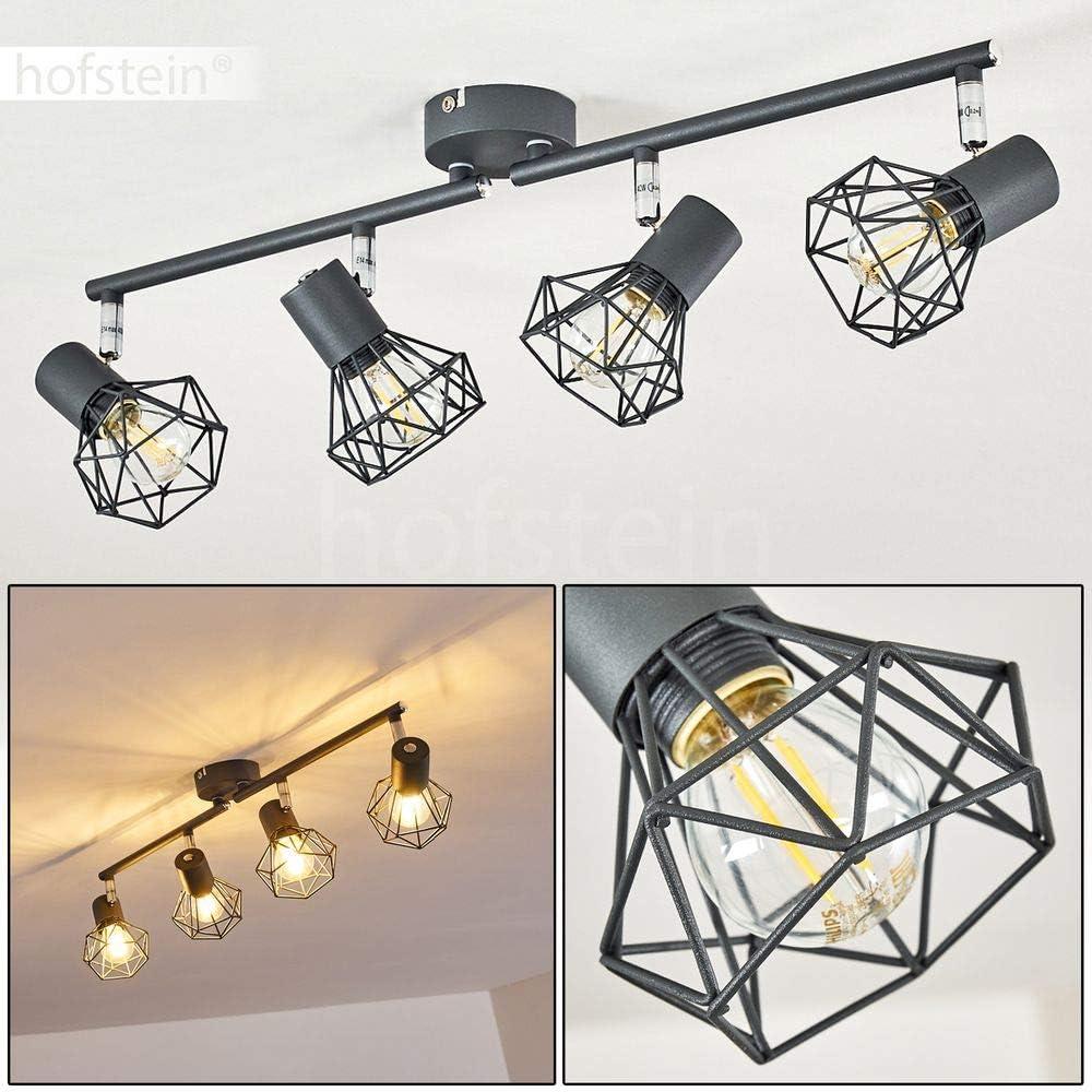 id/éal pour un salon ou une chambre 4 spots rotatifs projetant un effet luminueux au plafond pour 4 ampoules E14 max Plafonnier Gullspang en m/étal anthracite 40 Watt compatible ampoules LED