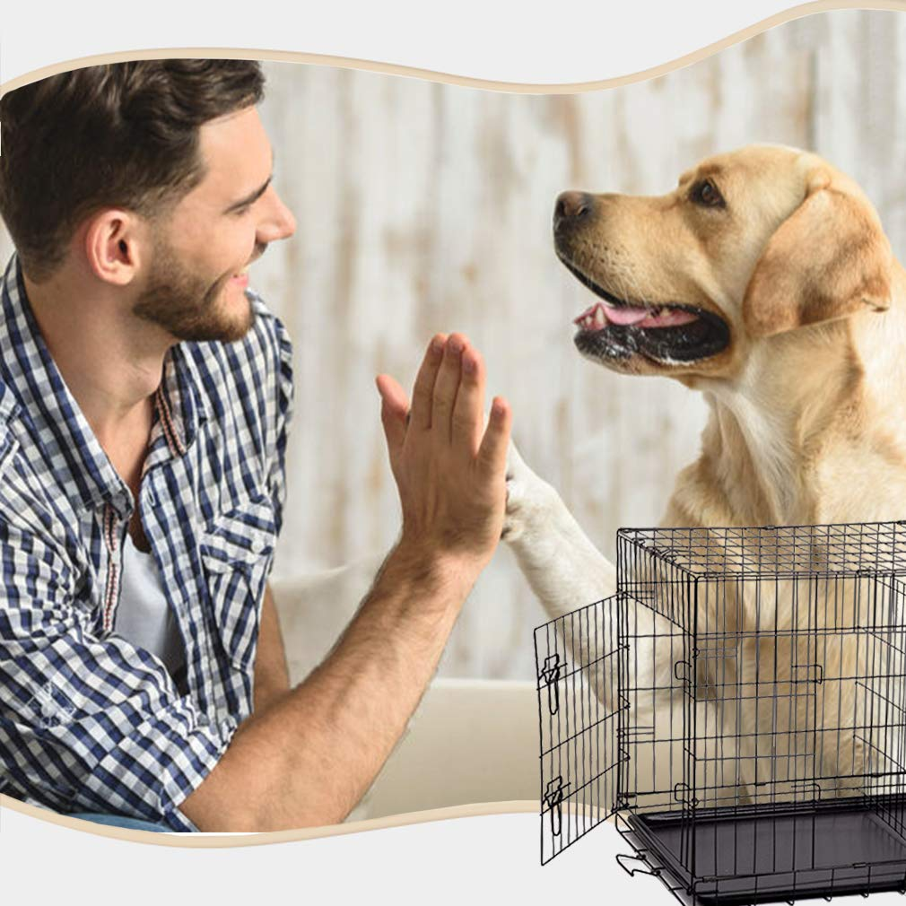 Dog Crate Dog Cage Pet Crate 48 Inch Folding Metal Pet Cage Double Door W/Divider Panel Dog Kennel Leak-Proof Plastic Tray Wire Animal Cage by BestPet (Image #3)