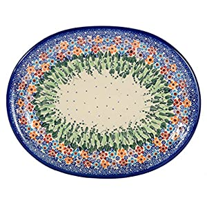 Traditional Polish Pottery, Handcrafted Oval Banquet Serving Platter 34cm, Boleslawiec Style Pattern, S.201.Daisy