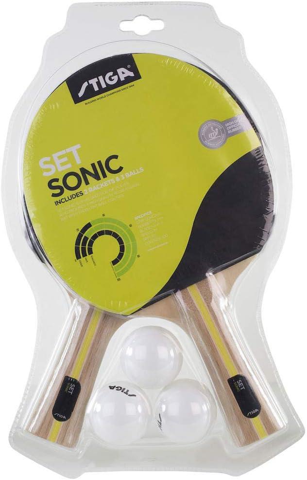 Stiga Sonic Raqueta de Ping Pong y Juego Bolas, Negro/Rojo, Talla única