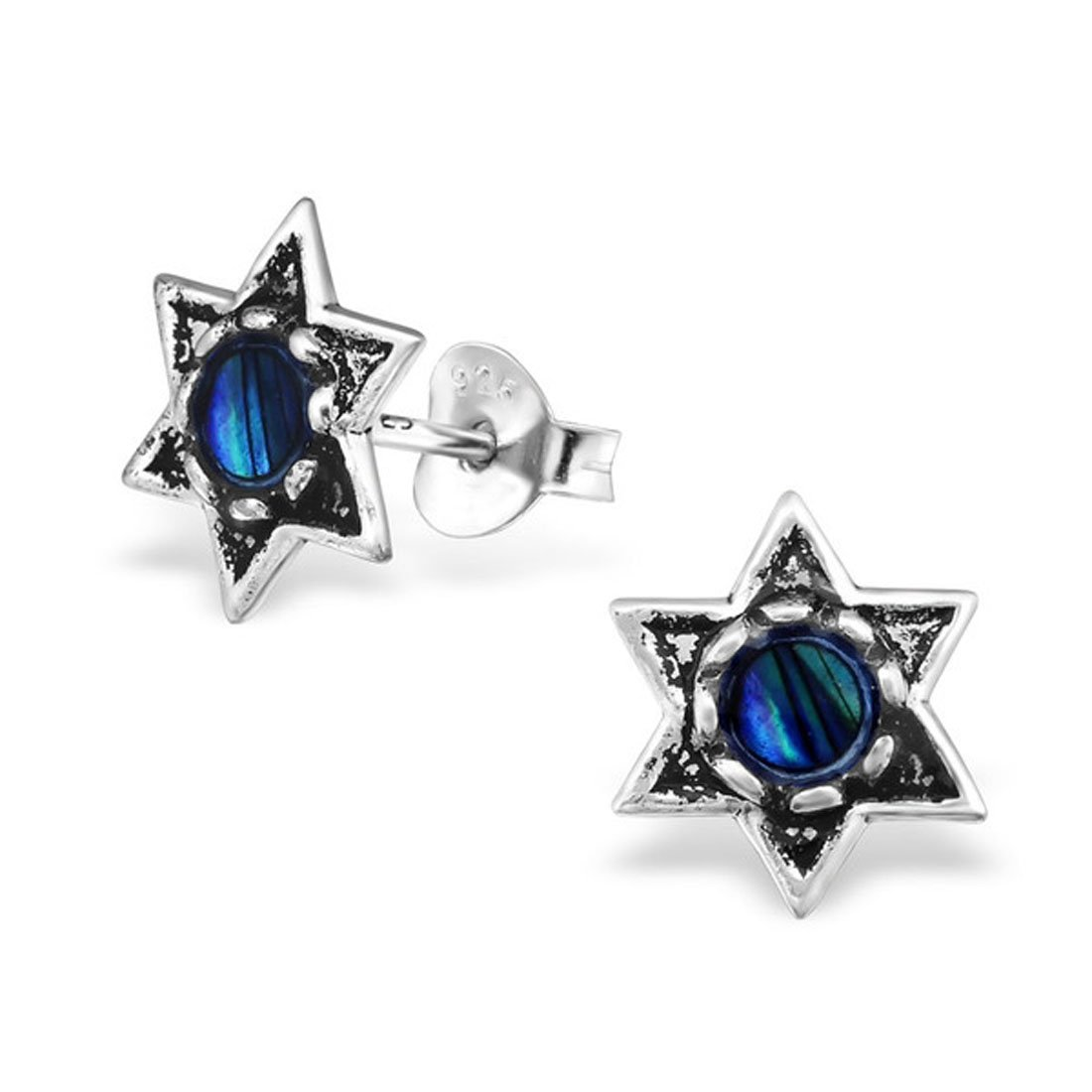9mm Star of David Stud Earrings Abalone Stering Silver 925 Nickle Free (E30784) (Abalone Dark Blue)