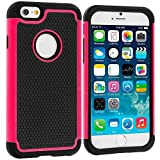 iPhone 6s Case,iPhone 6 Case,[4.7inch]by HLCT,Soft Interior Silicone Bumper&Hard Shell Solid PC Back,Shock-Absorption&Skid-proof,Anti-Scratch Hybrid Dual-Layer Cover (Hot Pink)
