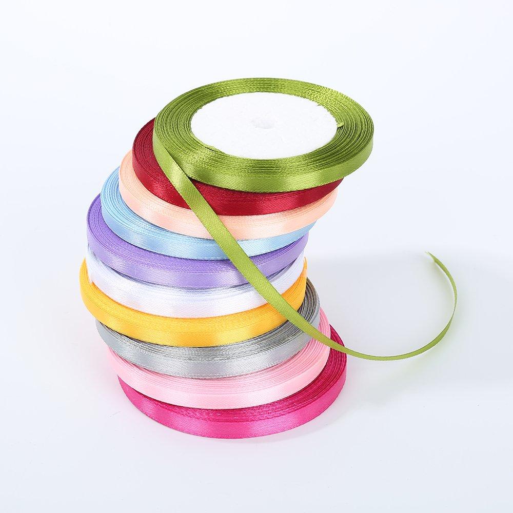 11 different colors manualidades amarillo fiestas 1 cinta de sat/én de doble cara colorida de 6 mm para lazos bodas regalos