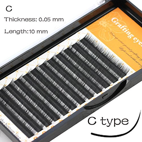 Grafting False Eye Lashes Wave 0.05 C Black Silk Eyelashes Extension (C)