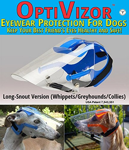Optivizor Clear UV Medical/Preventative Eye Protection (Goggles/Sunglasses) for Dogs - Long Snout Version (Whippets, Greyhounds, Collies)-Clear UV Size Medium (50-77lbs) (Long Snout)