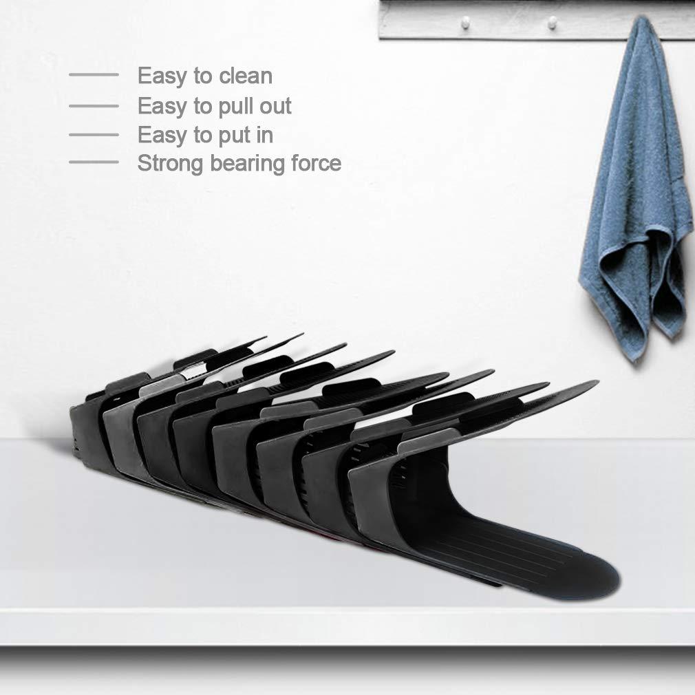 Einstellbare Schuh Slots für Schuhregale und Schrank, 8 Stück Platzsparende Schuhstapler/Schuhhalter Set, Verstellbare Schuh Veranstalter - Kunststoff Schuh Organizer Space Saver (Schwarz)
