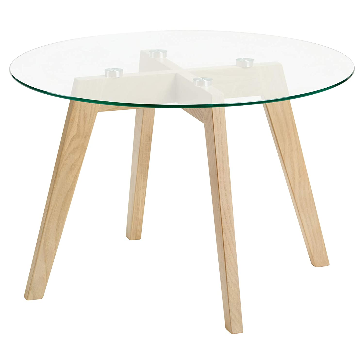 Hartleys Limed Oak Base Round Glass Coffee Table