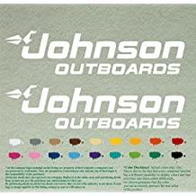 """Pair 12"""" Johnson outboards Decals Vinyl Stickers *White* Vinyl Stickers Boat Outboard Motor Lot of 2"""