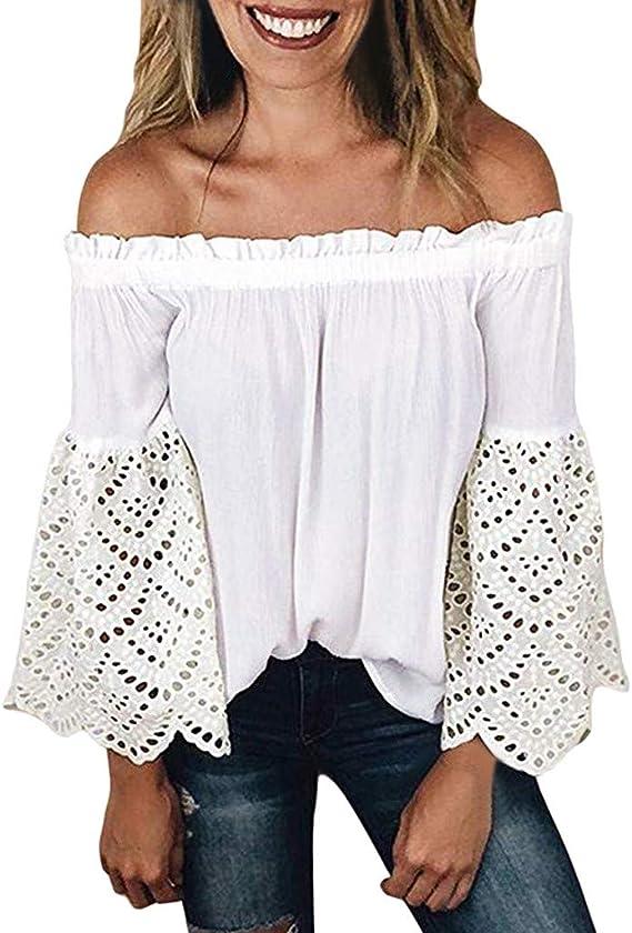 Blusa de Hombros Descubiertos para Mujer Manga Larga de Encaje Tops Suelta Sexy Camiseta Casual Fiesta Camisas sin Hombros Blanco XXL: Amazon.es: Ropa y accesorios