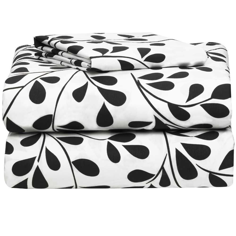 White with Black Vines 3 Piece Twin XL Sheet Set for College Dorm Bedding