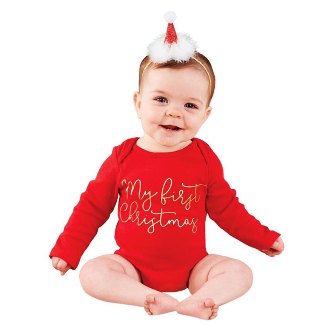 Hirolan Weihnachten Babykleidung Bedrucken Strampler Weich Festliche Kleider Mädchen Kleinkind Baby Jungen Brief Strampelhöschen Lange Ärmel Outfits Neugeborene Overall