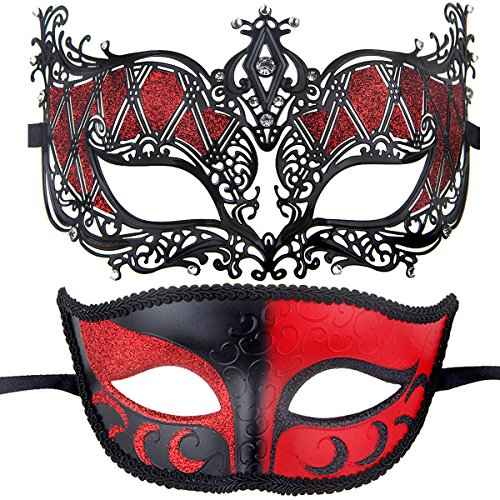 Couples Pair Half Venetian Masquerade Ball Mask Set Party Costume Accessory (red&Black) -