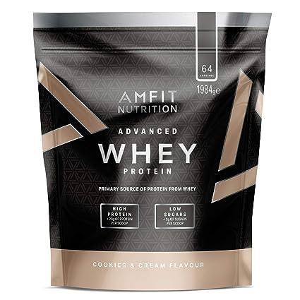 Marca Amazon - Amfit Nutrition Proteína Whey de suero de leche sabor Cookies & Cream,