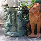 Lion Face Garden Pedestal for Statues Flowers Aged Antique Replica Chic