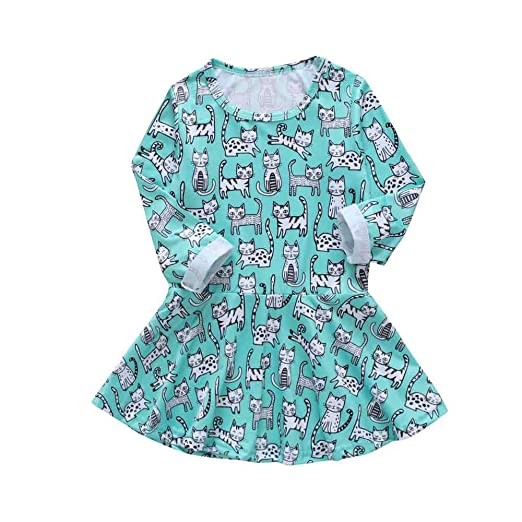 494c88366e MLCHNCO Baby Girl Dress Animal Cartoon Cat Printed Toddler Long Sleeve  Skirt Party Clothes Outfits Set